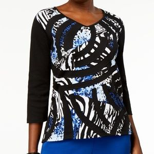 Alfred Dunner Patchwork Animal Print Top 3X NWT